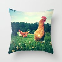 The Life of a Chicken Throw Pillow