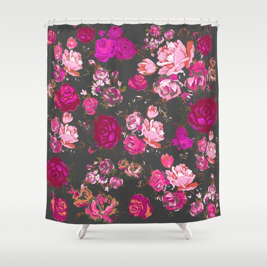 ... Hot Pink Roses on Grey Background Shower Curtain by Melissa | Society6
