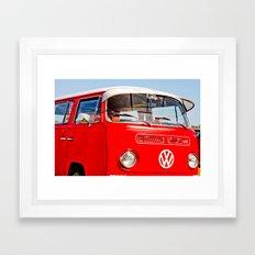 Red VW Bus Bold Print Framed Art Print