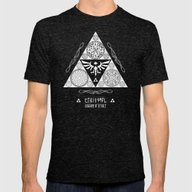 Legend Of Zelda Kingdom … Mens Fitted Tee Tri-Black SMALL