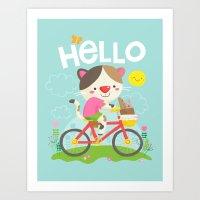 Cat On A Bike Art Print