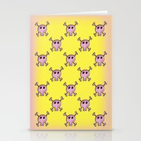 Pink Lemonade Punk Skulls Stationery Cards