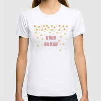 Be Merry and Bright Womens Fitted Tee Ash Grey SMALL