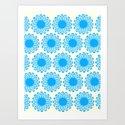 Vintage Flower_Turquoise Art Print