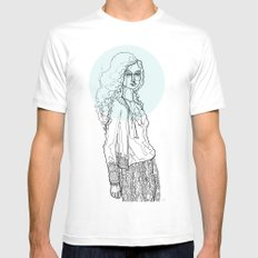 Teal Nimbus White SMALL Mens Fitted Tee