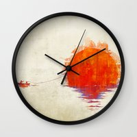 The Fisherman And His Bo… Wall Clock