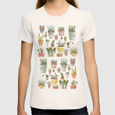 Potted Succulents Womens Fitted Tee Natural SMALL