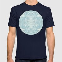 Floral Pattern in Duck Egg Blue & Cream Mens Fitted Tee Navy SMALL