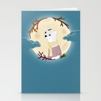 The weasel and the moon Stationery Cards
