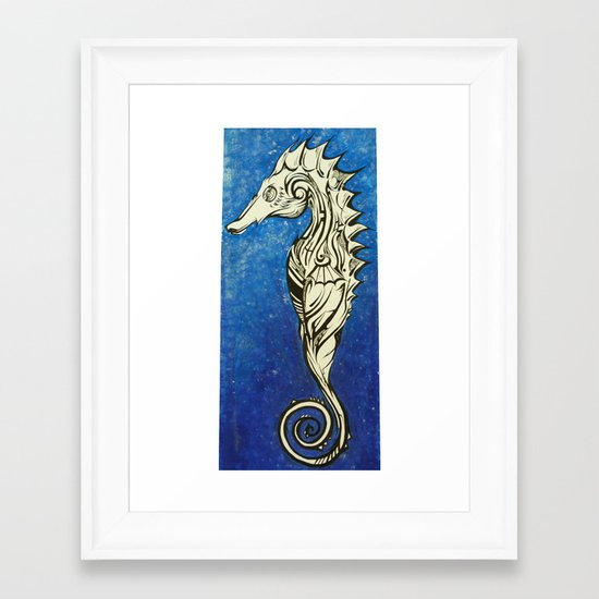 Tribal Seahorse Framed Art Print