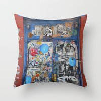 Graffiti Door NYC Throw Pillow