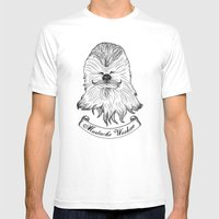 Mustache Wookiee Mens Fitted Tee White SMALL