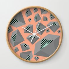 Mint and Gray Diamond on Peach Wall Clock