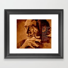 Charles Bukowski - quote - sepia Framed Art Print