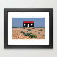Beach Hut With A Red Roo… Framed Art Print