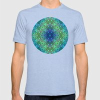Lila's Flowers Repeat Blue Mens Fitted Tee Tri-Blue SMALL