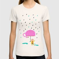one of the many uses of a flamingo - umbrella Womens Fitted Tee Natural SMALL