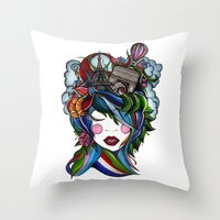 Paris girl Throw Pillow