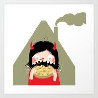 Pizza Monster Art Print