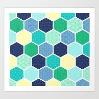 Galactic Hexagons 2 Art Print