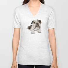A Bulldog Puppy :: Brindle  Unisex V-Neck