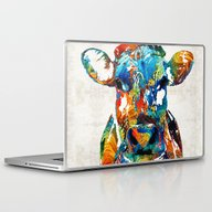 Colorful Cow Art - Mooto… Laptop & iPad Skin