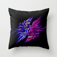 Twin Demons Intertwined Throw Pillow