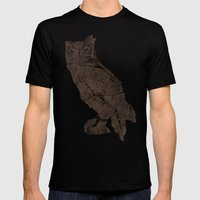 Wood Grain Owl Mens Fitted Tee Black SMALL