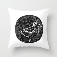 Golden Plover Standing Circle Tribal Art Throw Pillow
