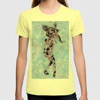 Pinup Girls on a Damask Womens Fitted Tee Lemon SMALL