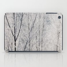 Young trees covered in a thick white frost. Norfolk, UK. iPad Case