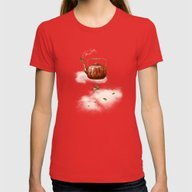 Tea For Two At Dusk Womens Fitted Tee Red SMALL