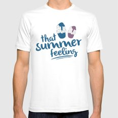 Ice cream pattern - light blue White SMALL Mens Fitted Tee