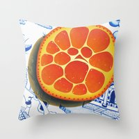 Orange on plate made where they speak Mandarin Throw Pillow