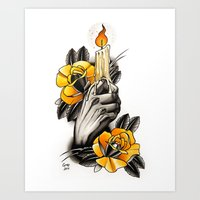 Hand holding CANDLE - tattoo Art Print
