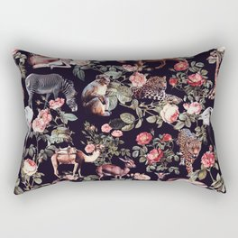 Rectangular Pillow - Animals and Floral Pattern - Burcu Korkmazyurek