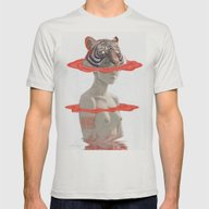 TIGER GIRL Mens Fitted Tee Silver LARGE