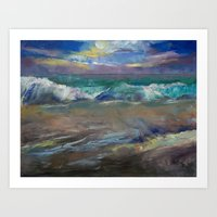 Moonlit Waves Art Print