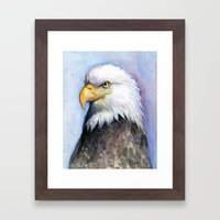 Bald Eagle Portrait Watercolor Painting Bird Framed Art Print