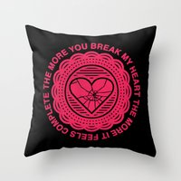 Shattered Hearts Badge Throw Pillow