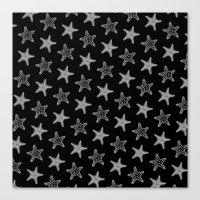 Starfish White on Black Canvas Print