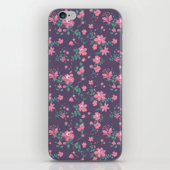 Flowers and Skulls iPhone & iPod Skin