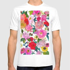 Peonies & Roses Mens Fitted Tee White SMALL