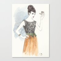 'Mary' Watercolor Fashio… Canvas Print