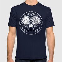 Distressed Sugar Skull Mens Fitted Tee Navy SMALL