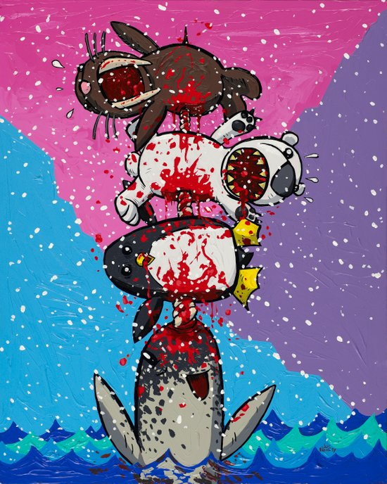 Here Comes a Narwhal! Art Print