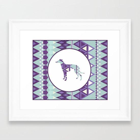 Greyhound Geometri Framed Art Print