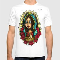 Lady Of Guadalupe (Virgen de Guadalupe) WHITE VERSION Mens Fitted Tee White SMALL