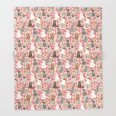 Cat Flowers cute spring summer garden cat lady pattern gift for cat person cat breed pet portraits  Throw Blanket