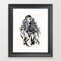 Woman & Birds  Framed Art Print